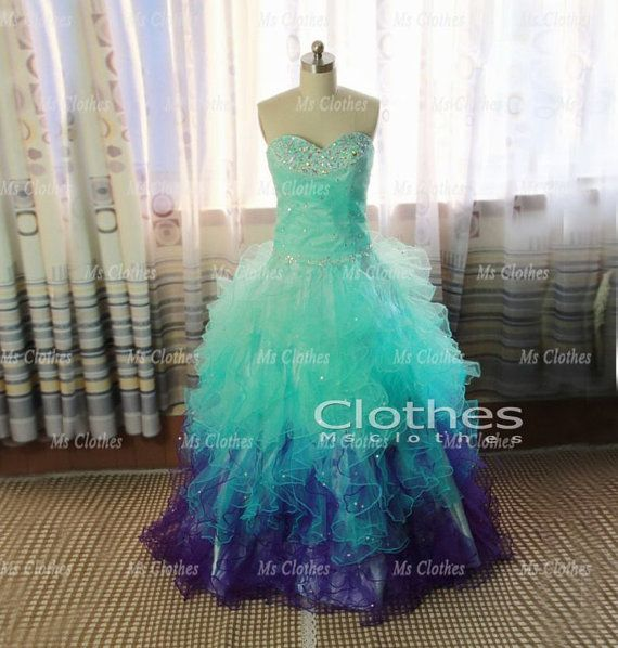 Custom Made Ball Gown Sweetheart Neckline Green / Purple Prom Dresses, Prom