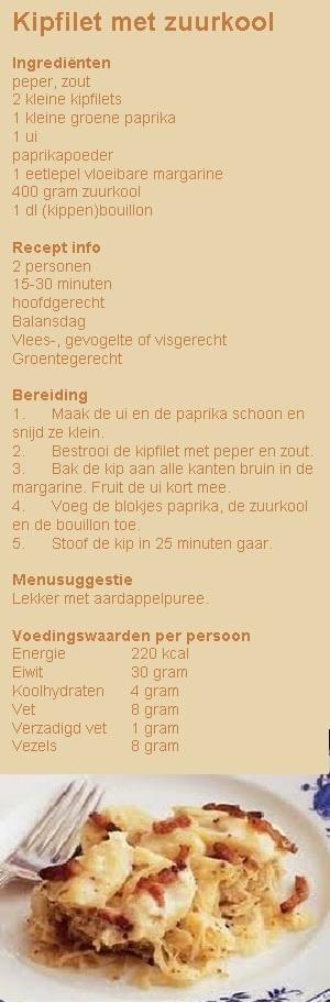 Kipfilet met zuurkool