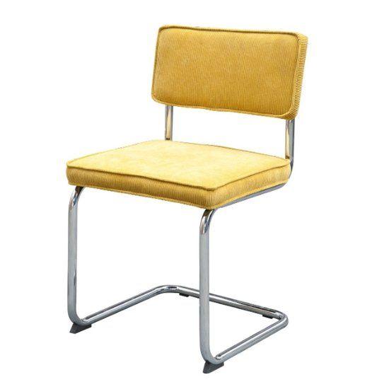 Gave vintage design stoel van LABEL51 met een retro uitstraling! De bekleding is gemaakt van stevig ribstof en het onderstel van chroom. Dit maakt de stoel 'Rib Buisframe' een ware lust voor het oog! #eetkamerstoel #vintage #retro #ribstof #design