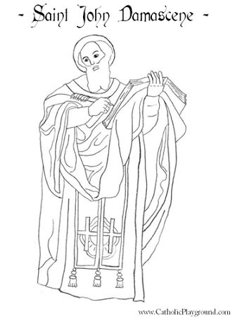 St John Damascene Catholic saint coloring page. Feast day is December 4th.: