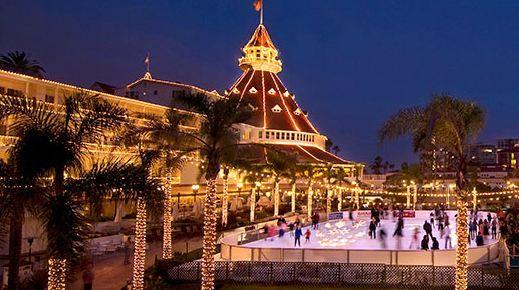 Hotel Del Coronado, ice skating on the beach at Christmas!