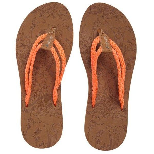 Women's Sakroots Bailen Flip Flop ($28) ❤ liked on Polyvore featuring shoes, sandals, flip flops, neon orange fabric, beach sandals, sakroot shoes, beach footwear, neon flip flops and neon sandals