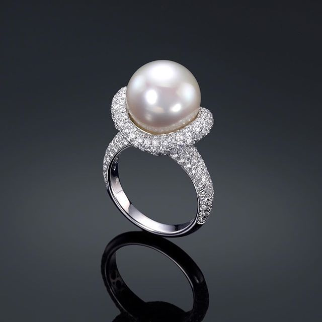 Assael Baroque Pearl & Diamond Ring 7pdh2