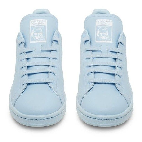 Raf Simons X Adidas Originals Stan Smith Sky Blue Low Top Sneaker ($480) ❤ liked on Polyvore featuring shoes, sneakers, adidas, обувь, low profile sneakers, adidas sneakers, adidas trainers and low top