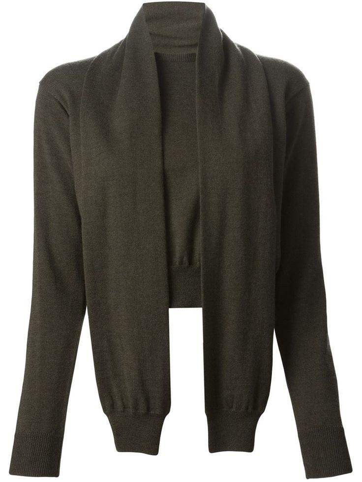 Maison Margiela___Sleeve-scarf Cropped Sweater__dark green_ wool_351€