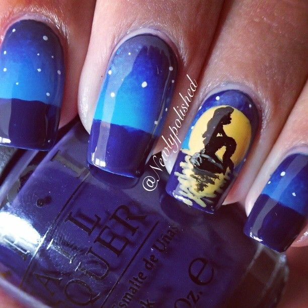 Instagram newlypolished - love the gradient and the sea design + moon!