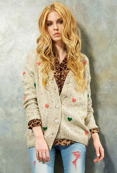 Cuddle Therapy Knit Cardigan with Multicolor Raised Stitch Hearts in Gray by Elf Sack | Sincerely Sweet Boutique