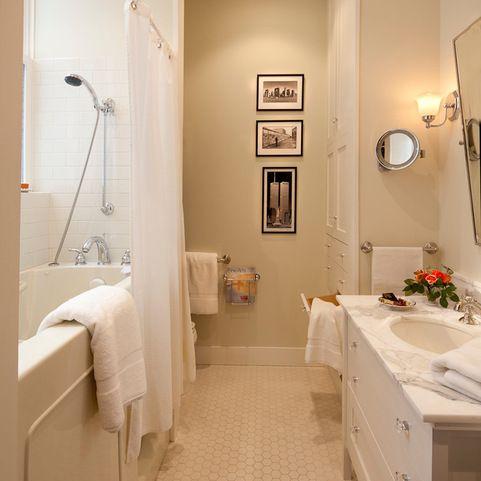 fabulous beige bathroom shower tile ideas | Benjamin Moore Battenberg wall color | Bathroom ...