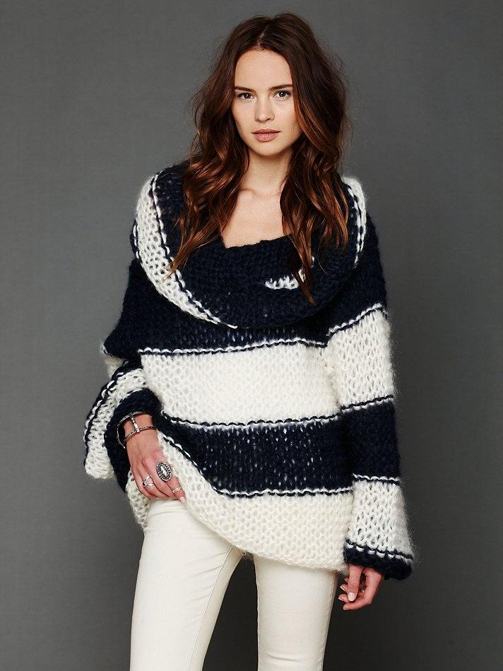 Mes Demoiselles Paris Stripe Cowl Neck Sweater at Free People