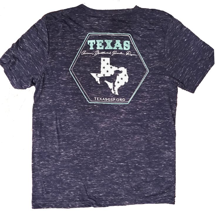 Texas GSP Rescue, Heathered Texas V-Neck T-Shirt, Navy and Mint