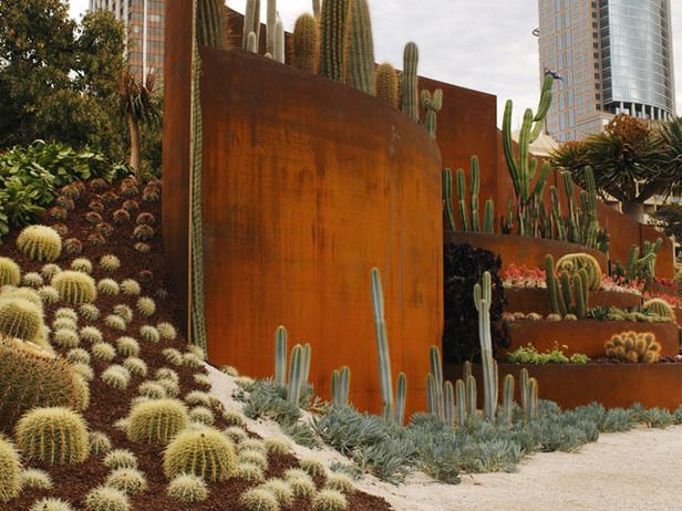 Organic Sculpture: This multi-terraced recycled Corten steel structure overflows with spectacular succulents from all over the world.  From HGTV.com's Garden Galleries
