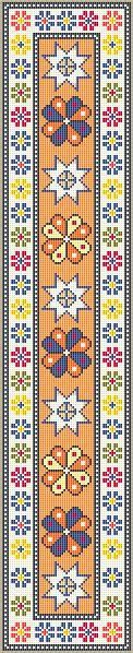 DOLLHOUSE MINIATURE NEEDLEPOINT PATTERN IN 1/12TH SCALE    Batian Staircase Runner    59 x 297 stitches, 11 colors      50 count silk gauze - 1.18 x