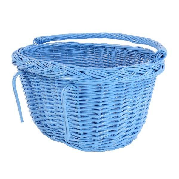 Wiklinowy kosz na rower - błękitny