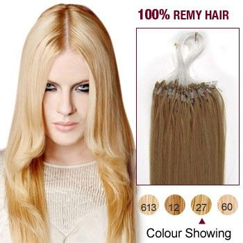 """16"""" Strawberry Blonde(#27) 100S Micro Loop Remy Human Hair Extensions"""