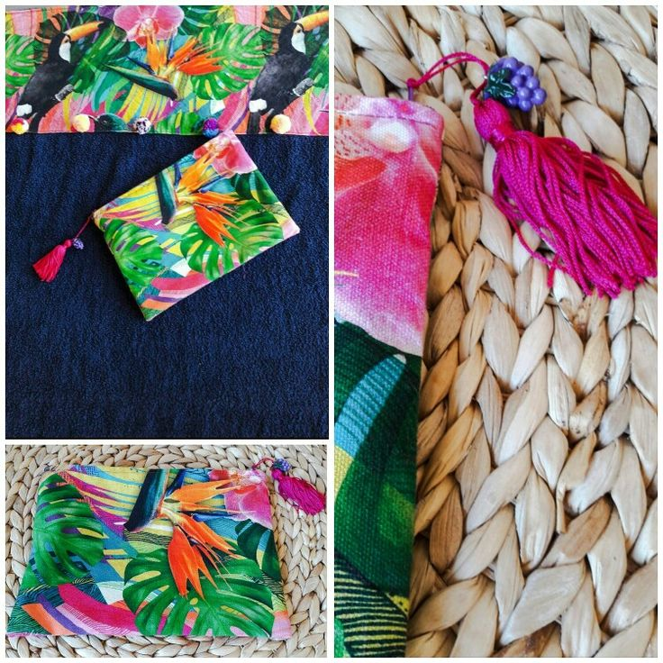 Exotic beach towel and purse with paradise plants and tukans