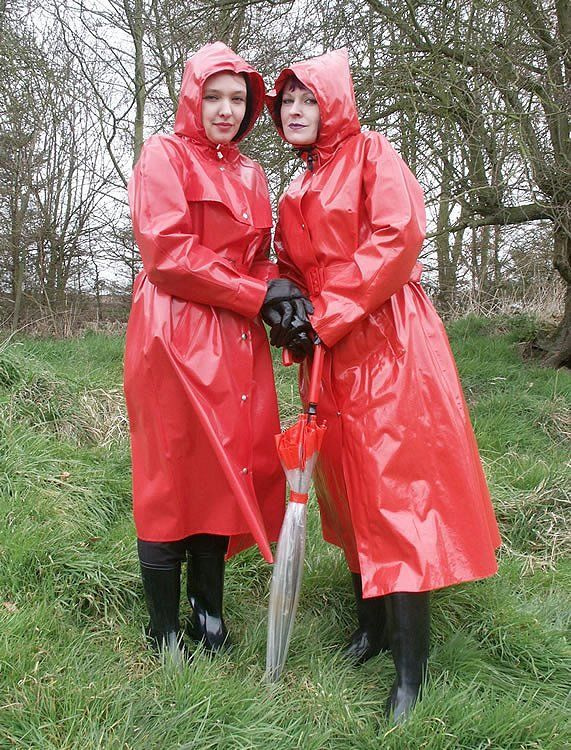 Red PVC Hooded Raincoats
