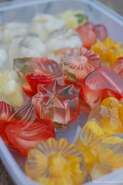 Japanese Konnyaku Jellies - Gel sweets with fruit inside. Similar to jello, just slightly different.  Easy to make.  Ingredients: konnyaku powder gel mix, citric acid, hot water, fruits. Fyi, konnyaku is a digestible starch made from a plant. It is considered safe to eat and is used in numerous Asian recipes. It makes both savory and sweet foods, for example, noodles and jelled cubes for soups.