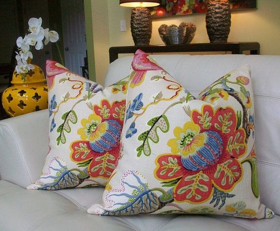 This lovely and bold, large scale floral is very similar to some of Josef Frank's patterns. This pattern has been featured at Sarah Richardsons Sarah 101, paired with the handsome La Fiorentina in lime for Davis Hicks. Each pillow is made with the same fabric on both front and back featuring two different portions of the pattern for front and back, as pictured. * Size 18x18 * Heavy weight basketweave 100% cotton * Color multi ( Berry, Fucsia, Chartreuse, White, Ice Blue, Brown, Yellow, T...