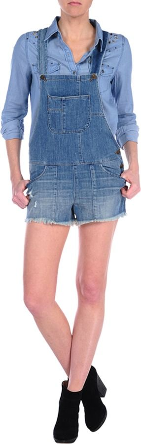 $189, Blue Denim Overall Shorts: Siwy Denim Jessie. Sold by Designs by Stephene. Click for more info: https://lookastic.com/women/shop_items/116355/redirect