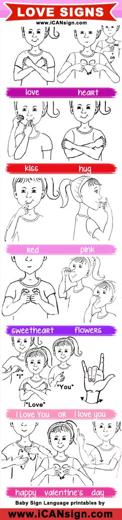 Learn how to express your love using American Sign Language. This ASL chart has signs related to love and Valentine's Day.
