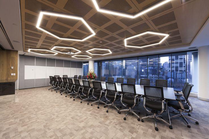 Pre-finished wood grain acoustic ceiling panels for MCM, Melbourne