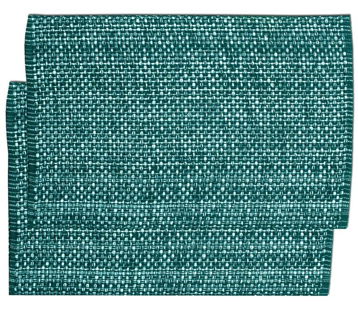"""Unique and Custom {13 x 19' Inch} Set Pack of 2 Rectangle """"Non-Slip Grip Texture"""" Large Table Placemats Made of Washable Flexible 100% Cotton w/ Dark Turquoise Tone Woven Design [Green Color] ** Insider's special review you can't miss. Read more  : Food Service Equipment Supplies"""