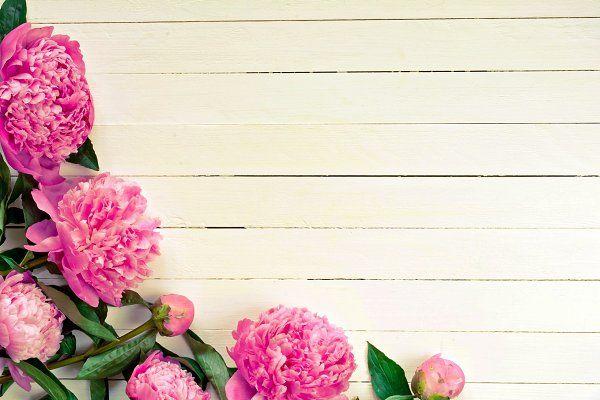 Peony Flowers On Vintage Background Peonies Background Background Vintage Floral Background