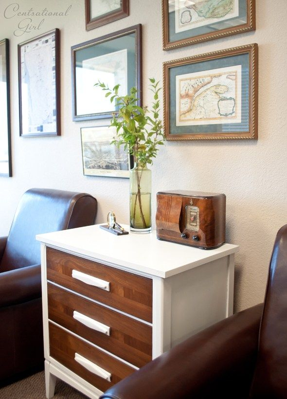 white chest wood drawers map wall