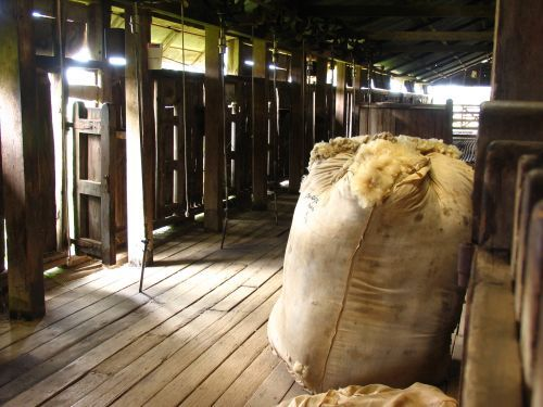 The wool packed and ready to be sent off Typical shearing shed in country Australia.