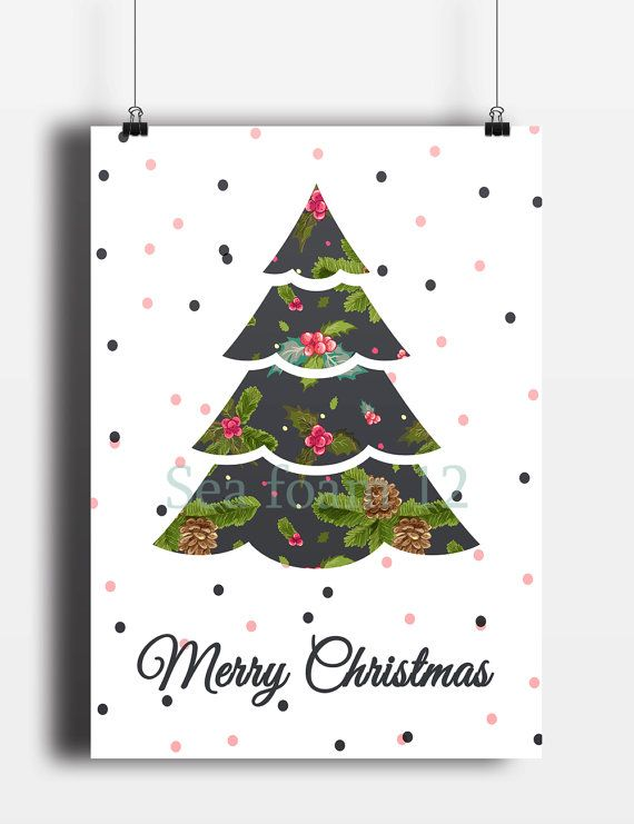 Merry Christmas Card Tree & Christmas Wall Art Deer  by SEAFOAM12