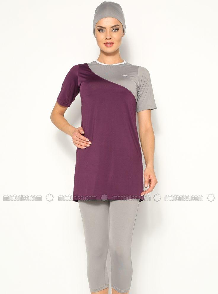Close Back Kneeskin Swimsuit- Purple - Marina Mayo