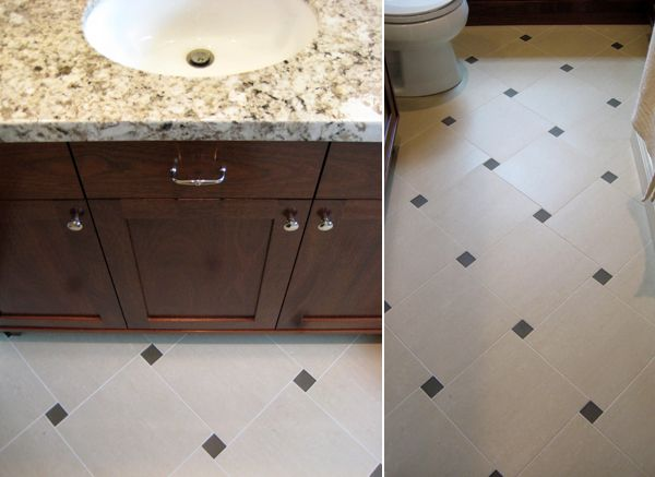 Pinwheel tile pattern with dark accent could use all for Bathroom design 9x9