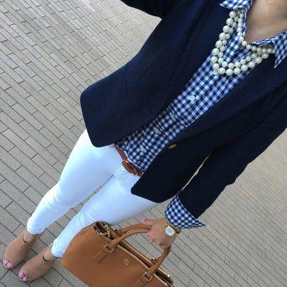 Black blazer, white pants or jeans,  gingham shirt, chunky pearls, cognac satchel
