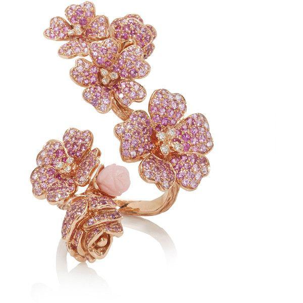 Cherry Blossoms Ring | Moda Operandi ($13,255) ❤ liked on Polyvore featuring jewelry, rings, gemstone jewelry, gem rings, gem jewelry, gemstone rings and cherry blossom jewelry