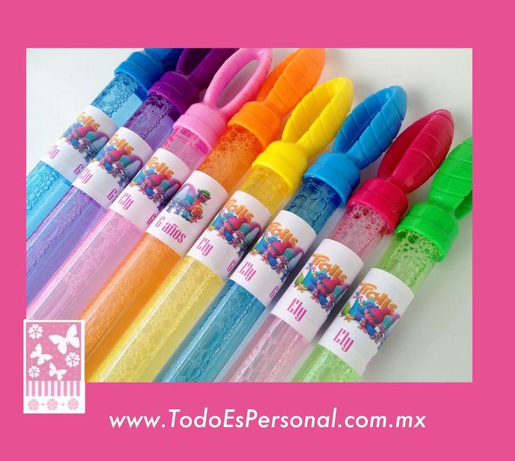 burbujas baston fiestas niños infantil recuerdos piscina ideas fiesta trolls etiqueta personalizadas