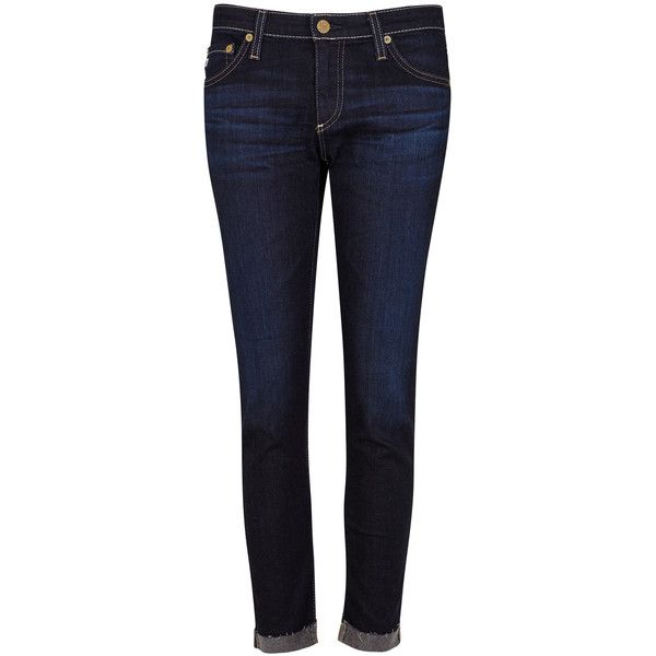 AG Jeans The Stilt Roll Up indigo skinny jeans ($260) ❤ liked on Polyvore featuring jeans, pants, bottoms, skinny jeans, super skinny jeans, rolled cuff jeans, frayed jeans and faded blue jeans