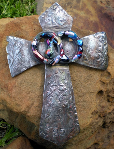 Wedding cross....clay pottery with glass.