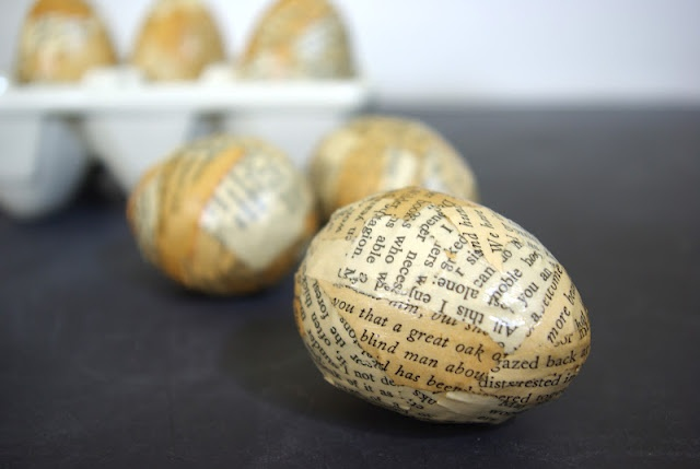 Vintage book Easter Eggs  - mod podge and paper mache eggs