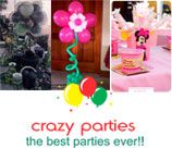 Crazy Parties - Midrand offers a variety of Party planning services i.e. Themed Parties; Party Décor (Chair covers, table cloths, centre pieces, draping, confetti, themed material etc); Balloon decor (balloon pillars, arches & themed balloon centre pieces etc); Kiddies Entertainment (clowns, jumping castle hire, face painters, carousels etc). Various Packages available.