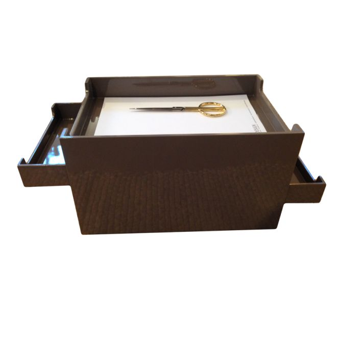 Skuffemøbel med 4 brevbakker 35x24x21 cm i brun/grå lak