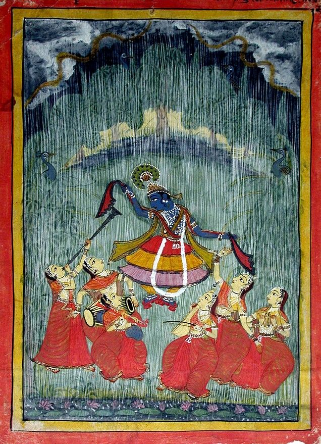 Megh-Malar Raga. Krishna and the Gopis dance in the Monsoon. ca. 1720. Rajput court Partabgarh, India.