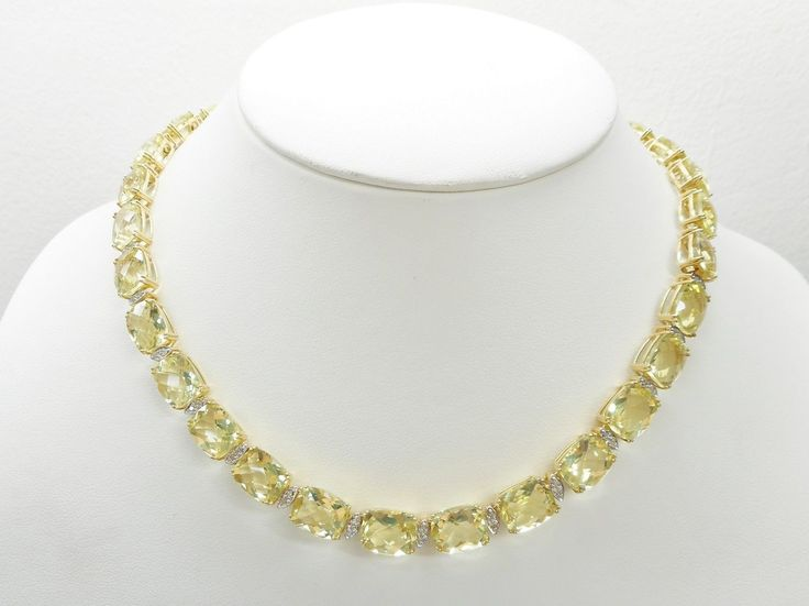 "SALE 14k Yellow Gold 120 Carat Checkerboard Cut Peridot Necklace 16"" #1383"