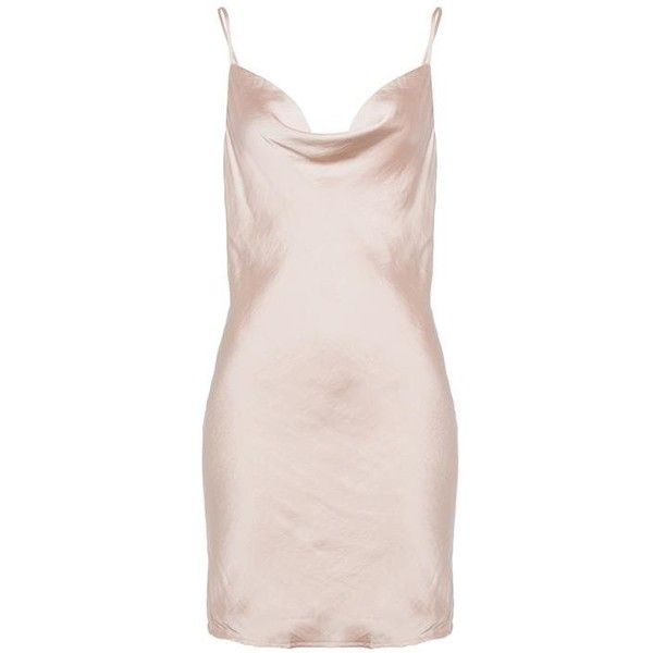 STRAPPY SLIP DRESS ❤ liked on Polyvore featuring dresses, nude, short dresses, short pink dress, mini dress, strappy dress and strap dress