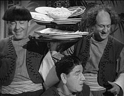 "The Three Stooges, a Vaudeville act that started in 1925, were first known as ""Ted Healy and his Southern Gentlemen"", which was comprised of Moe Howard, Larry Fine and Shemp Howard. The original trio did one feature film entitled, ""Soup to Nuts""."