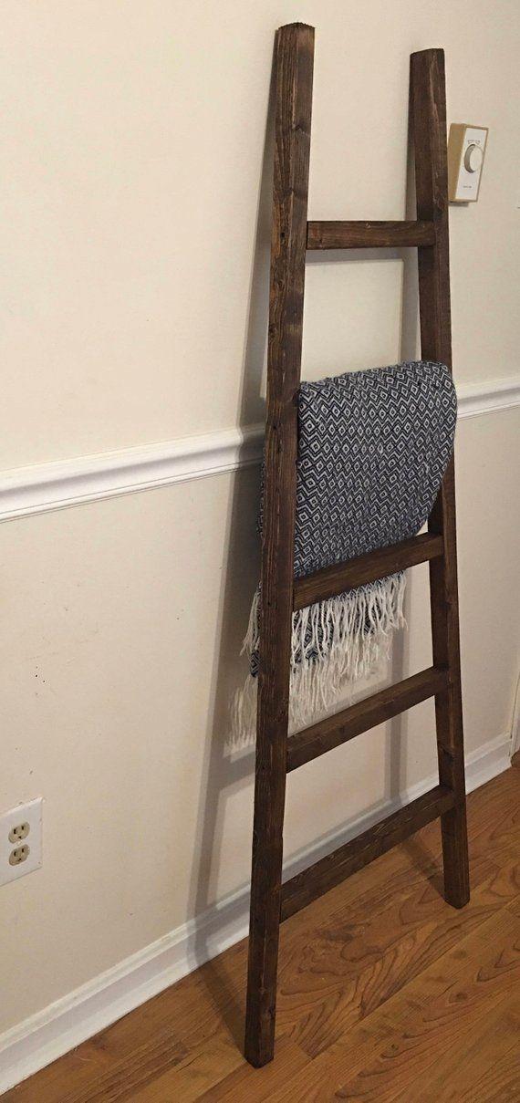 Rustic Reclaimed Wood Blanket Ladder Towel Rack Blanket Etsy Wood Blanket Ladder Rustic Reclaimed Wood Rustic Ladder