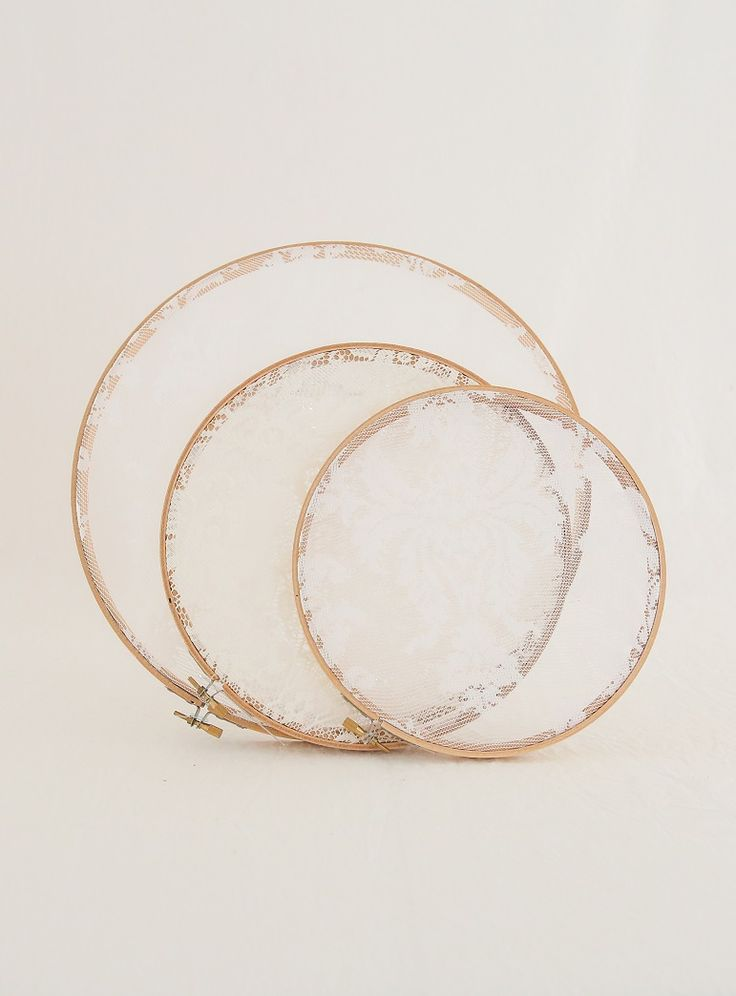 Lace embroidery hoops. $2 each. Approx 9 available.More on request. These look great hung from trees or a backdrop with fishing line. Ask to see a demo pic of how we use these. To Book Contact theweddingandeventcreators@gmail.com Photos; Shenay Spinelli Photography