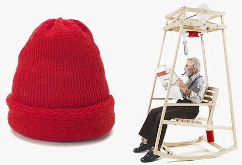 """La #sedia a dondolo che sferruzza. Grazie all' #energia cinetica basta sedersi e dondolare ed il cappello di #lana è pronto.   Il progetto di Damien Ludi e Colin Peillex, due studenti della Scuola cantonale d'arte di Losanna, si chiama """"Rocking Knit"""".  #Knitting col vento su @marraiafura"""