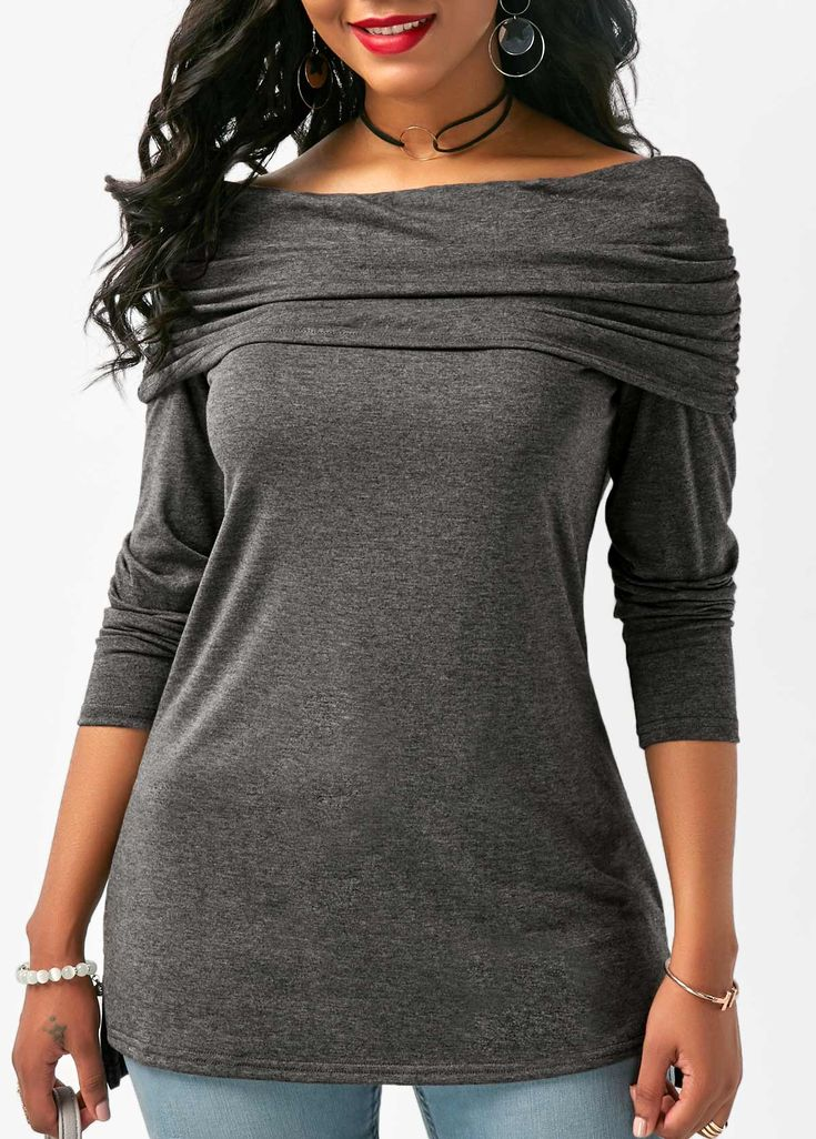Ruched Off the Shoulder Deep Grey Blouse on sale only US$29.69 now, buy cheap Ruched Off the Shoulder Deep Grey Blouse at liligal.com