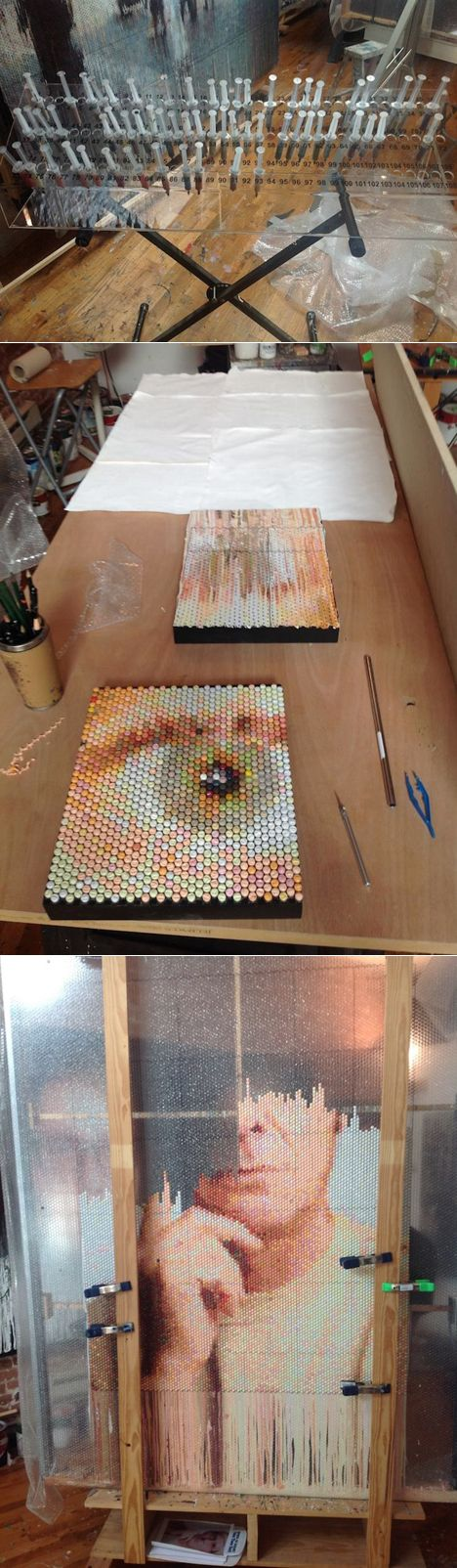 Bubble wrap injected with paint.