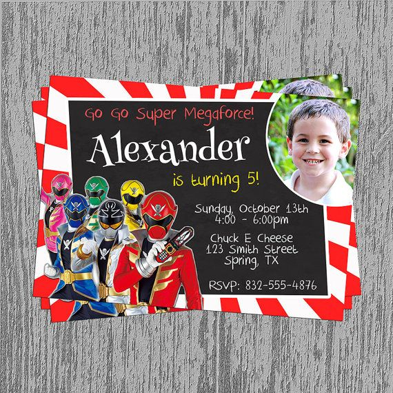 16 best images about cumple power rangers – Power Ranger Party Invitations